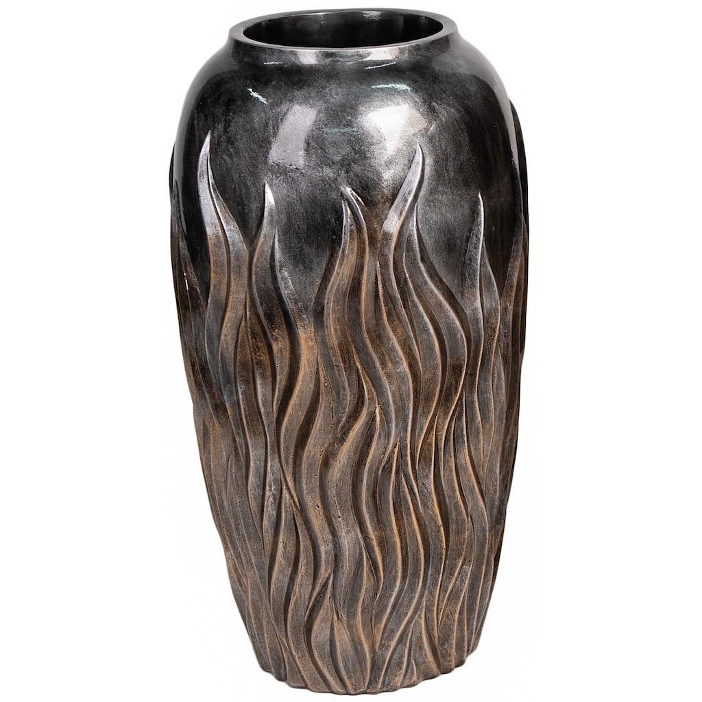 Casablanca by Gilde Pflanzkübel »Flame, bronzefarben«, (1 St.), dekorativer Blumentopf, groß, aus Magnesia, mit Flammenstruktur, in verschiedenen Größen erhältlich, Wohnzimmer