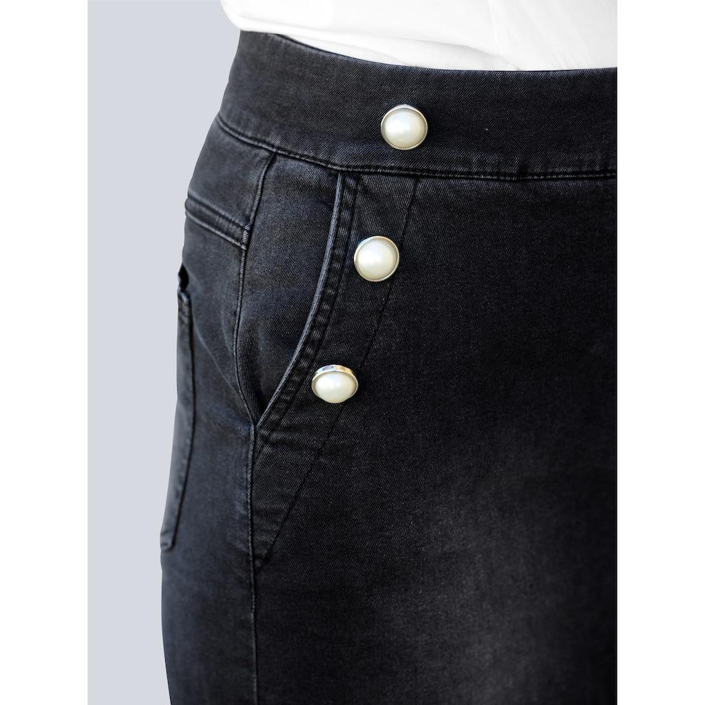 Alba Moda Jeansrock, mit Dekoperlen an den Eingrifftaschen