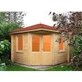 WOLFF FINNHAUS Set: Gartenhaus »Maria 44-B«, BxT: 412x412 cm, inkl. Fußboden, rote Schindeln, Dachhaube