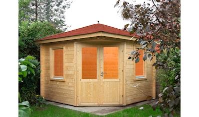 WOLFF FINNHAUS Set: Gartenhaus »Maria 44 - B«, BxT: 412x412 cm, inkl. Fußboden, rote Schindeln, Dachhaube kaufen