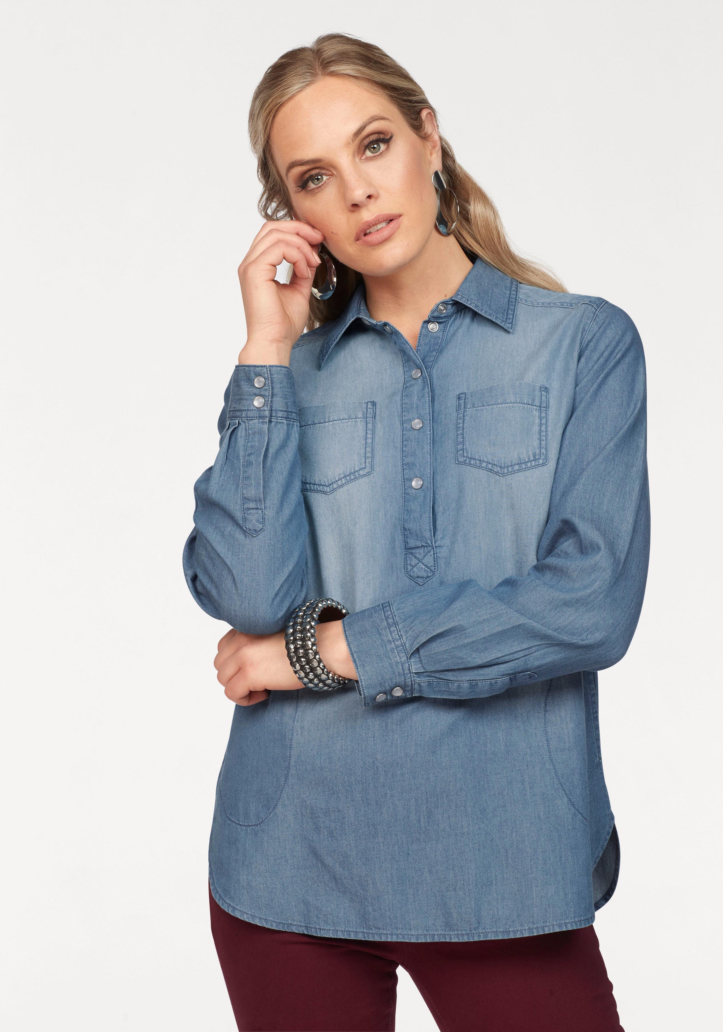 Arizona Jeansbluse im Tunika-Stil mit Eingrifftaschen