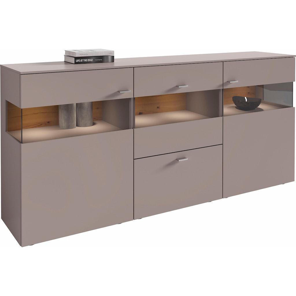 GWINNER Sideboard »ANZIO«, Lack fango, 3-türig, Breite 195 cm