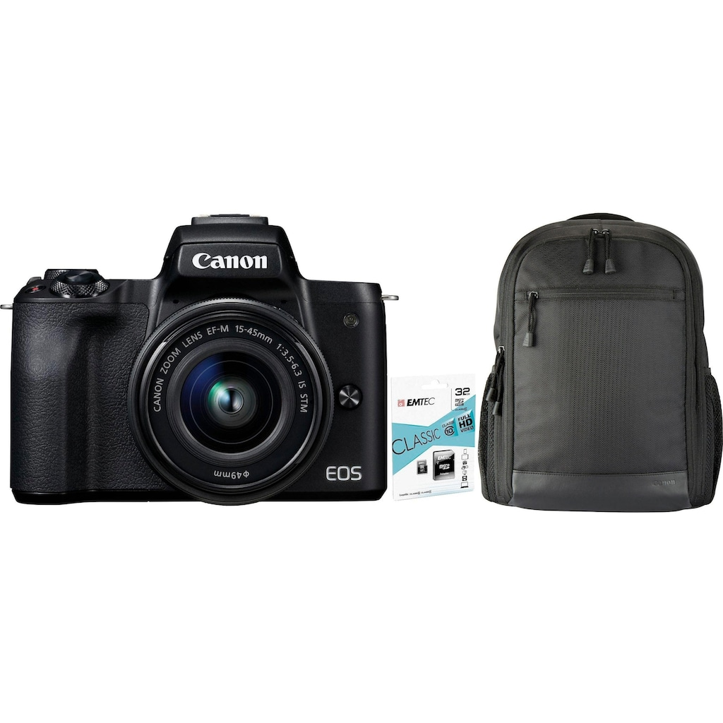Canon Systemkamera »EOS-M50 EF-M15-45 Kit«, EF-M 15-45, NFC-WLAN (Wi-Fi)-Bluetooth, + Rucksack CB-BP100 + 32GB SD Class 10 + 10 € FGS