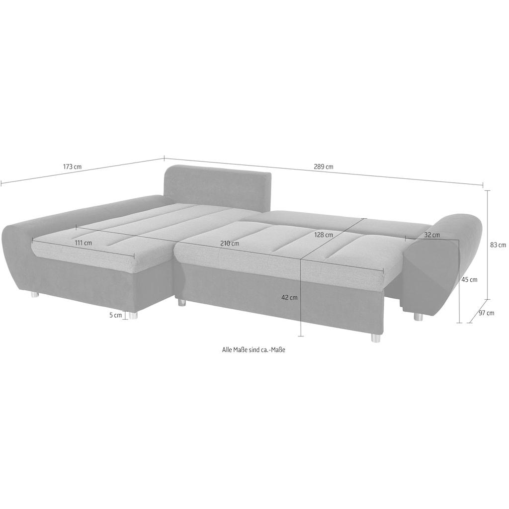 sit&more Ecksofa »Bandos«, in 2 unterschiedlichen Größen, wahlweise mit Bettfunktion