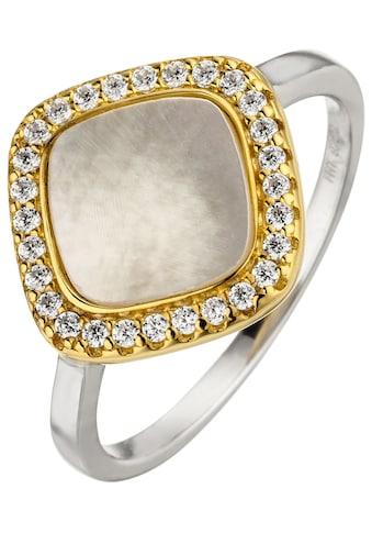 JOBO Silberring, 925 Silber bicolor vergoldet mit Perlmutt 28 Zirkonia kaufen