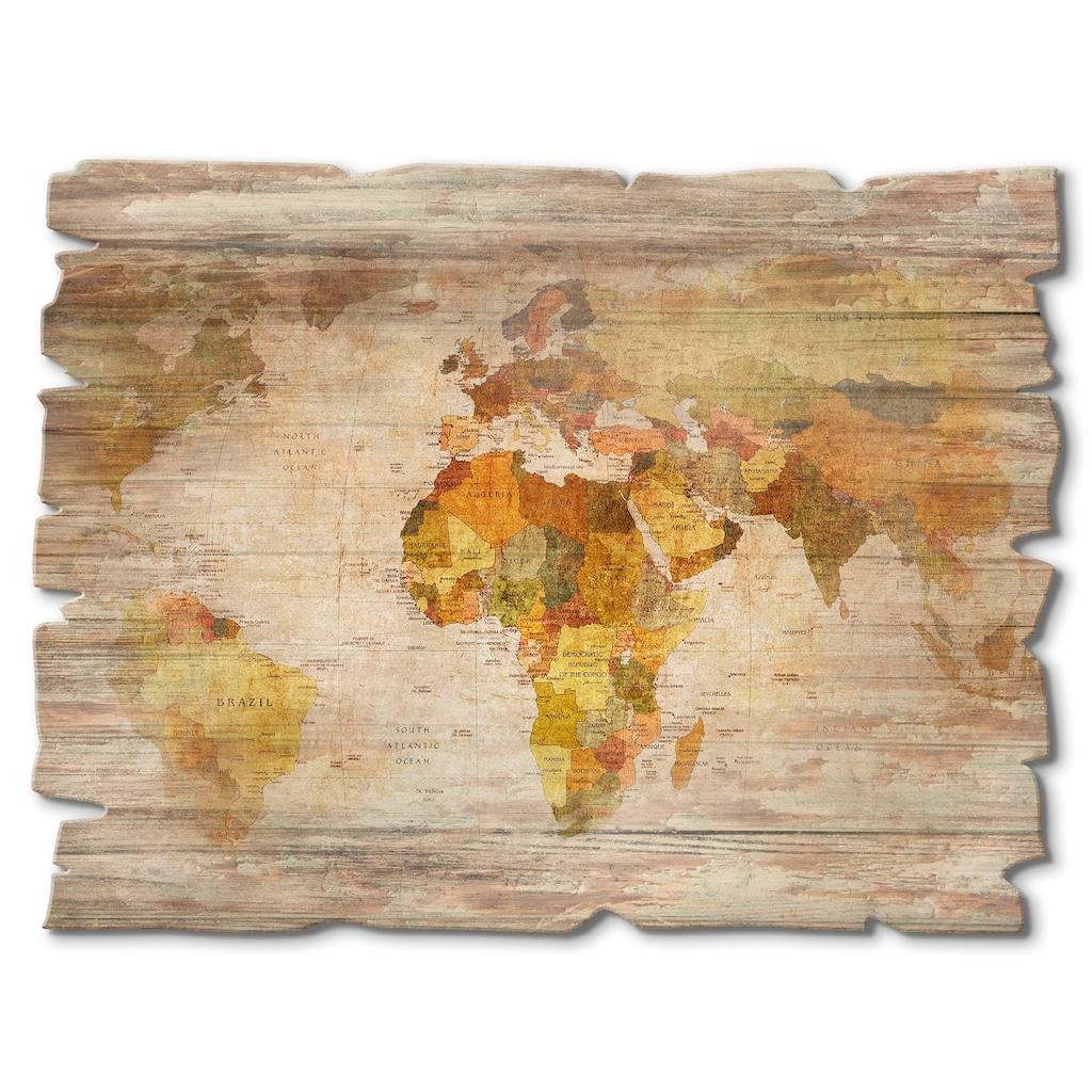 Artland Holzbild »Weltkarte«, Landkarten, (1 St.)