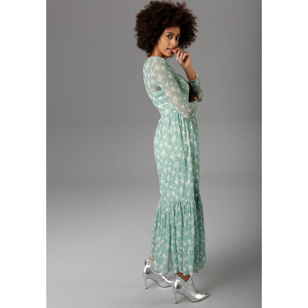Aniston CASUAL Maxikleid, mit zarten Blumendruck - NEUE KOLLEKTION