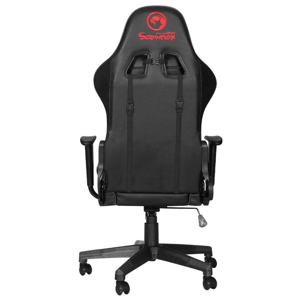 MARVO Gaming-Stuhl »Marvo CH106 Gaming Stuhl + Stuhlunterlage/Bodenschutzmatte - COMBO«, ergonomisch, höhenverstellbar, Officestuhl, Schreibtischstuhl, Drehstuhl, 2D-Armlehnen, Stahlrahmen, Kunstleder