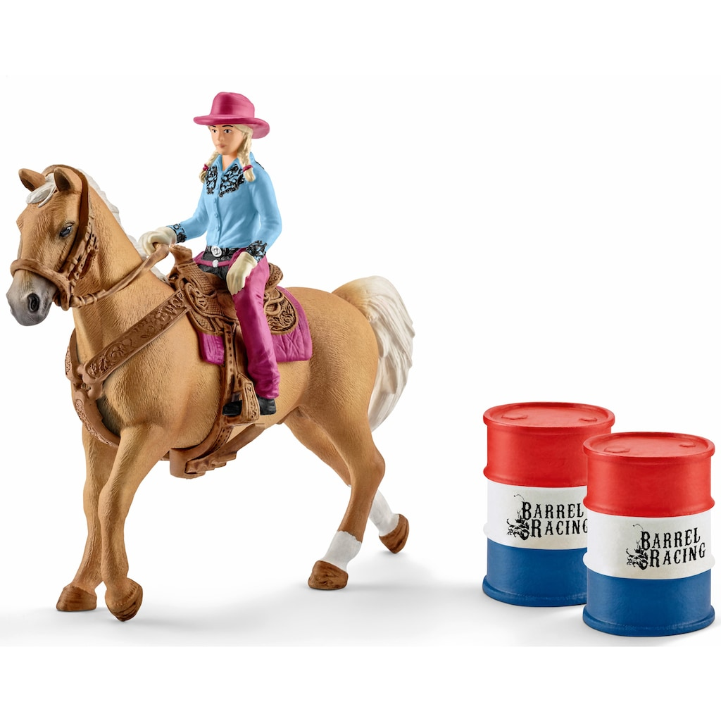 Schleich® Spielfigur »Farm World, Barrel racing mit Cowgirl (41417)«, (Set)