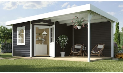 WEKA Set: Gartenhaus »Stellan 1«, BxT: 586x278 cm, mit Anbaudach kaufen