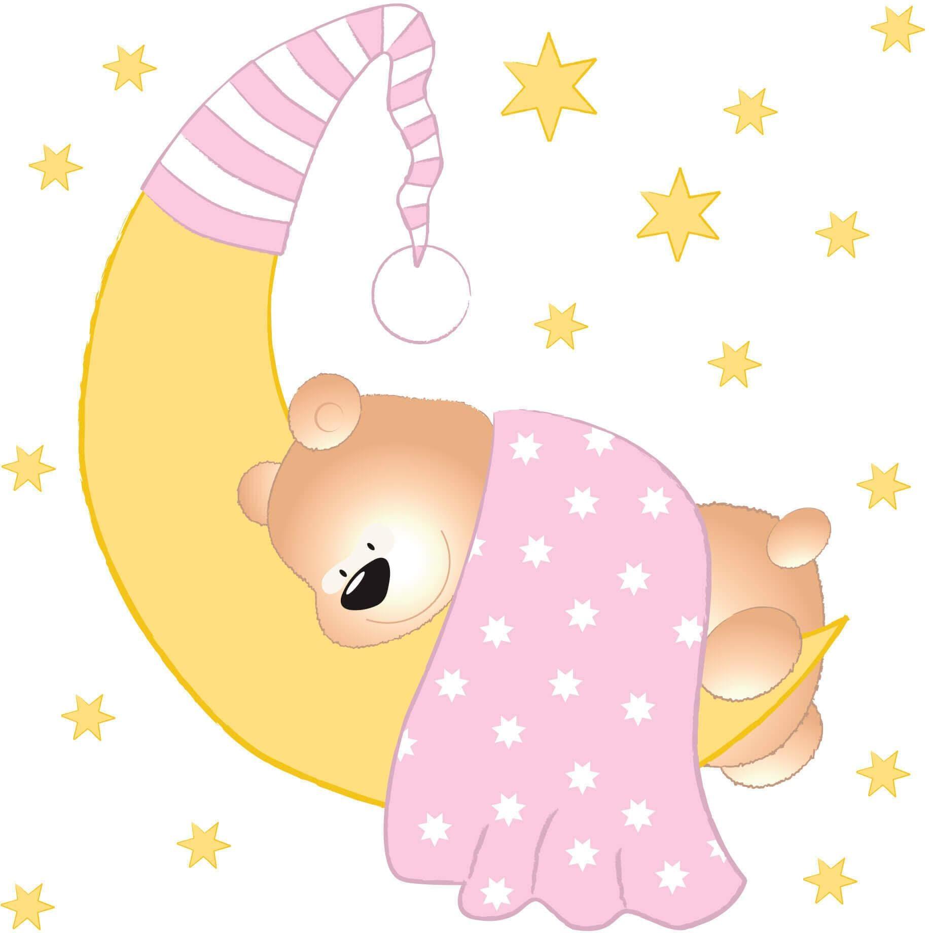 Wandtattoo Bärchen Mond und Sterne Wohnen/Accessoires & Leuchten/Wohnaccessoires/Wandtattoos und Wandsticker/Wandtattoos Tiere