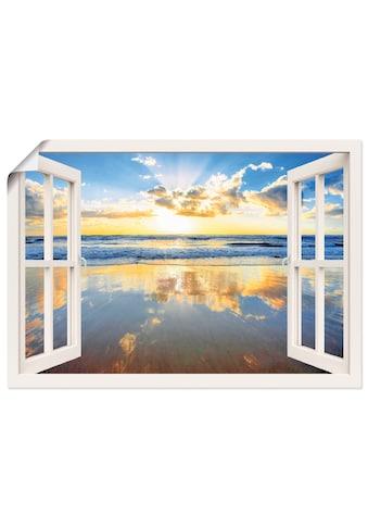 Artland Wandbild »Fensterblick Sonnenaufgang Ozean«, Fensterblick, (1 St.), in vielen... kaufen