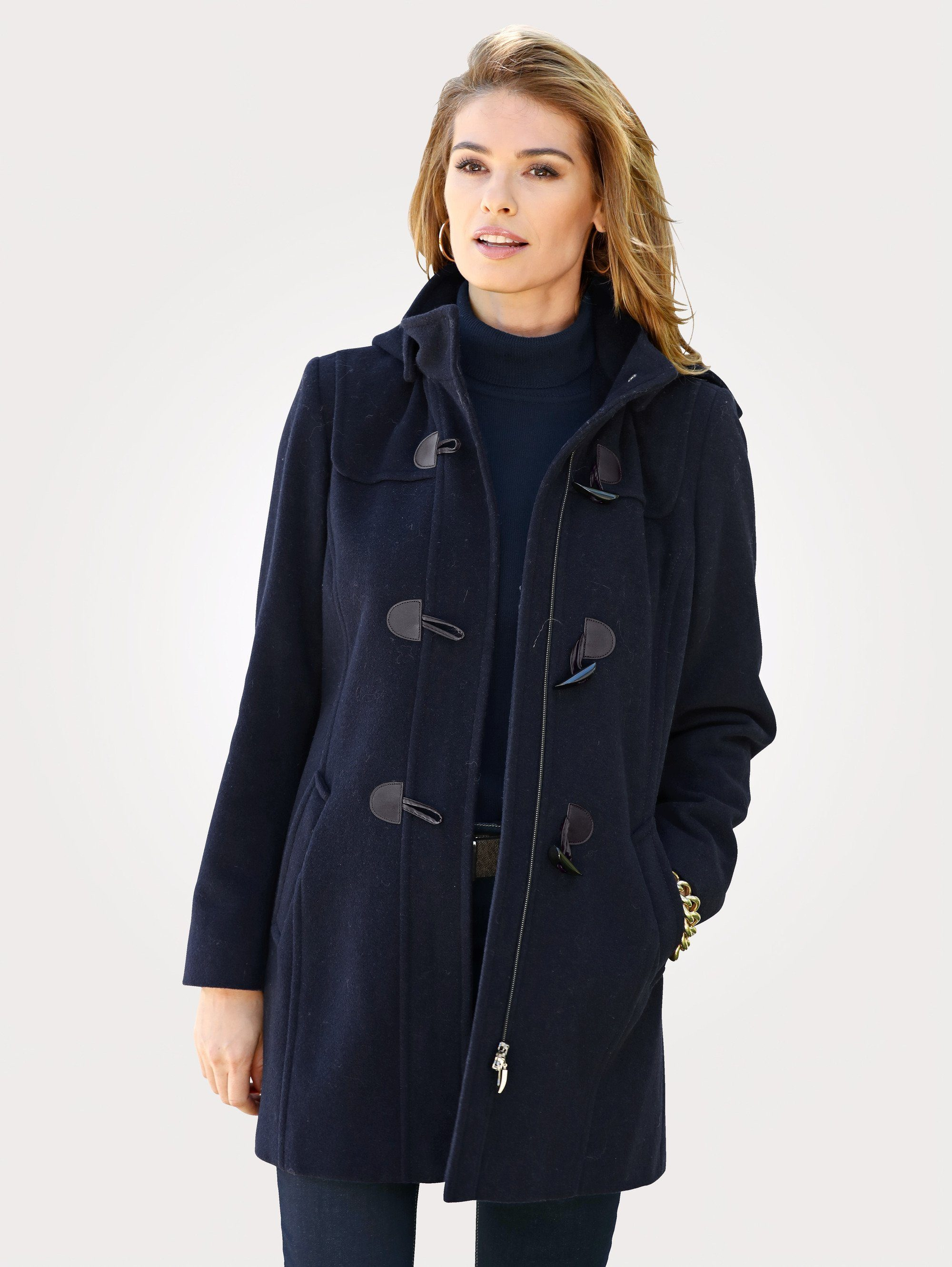 Mona Dufflecoat mit Kapuze   Bekleidung > Mäntel > Dufflecoats   Blau   Wolle - Polyester - Kaschmir   MONA