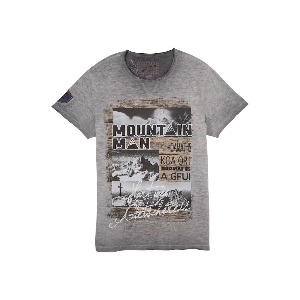 Andreas Gabalier Kollektion Trachtenshirt, Herren mit Berg-Printmotiv