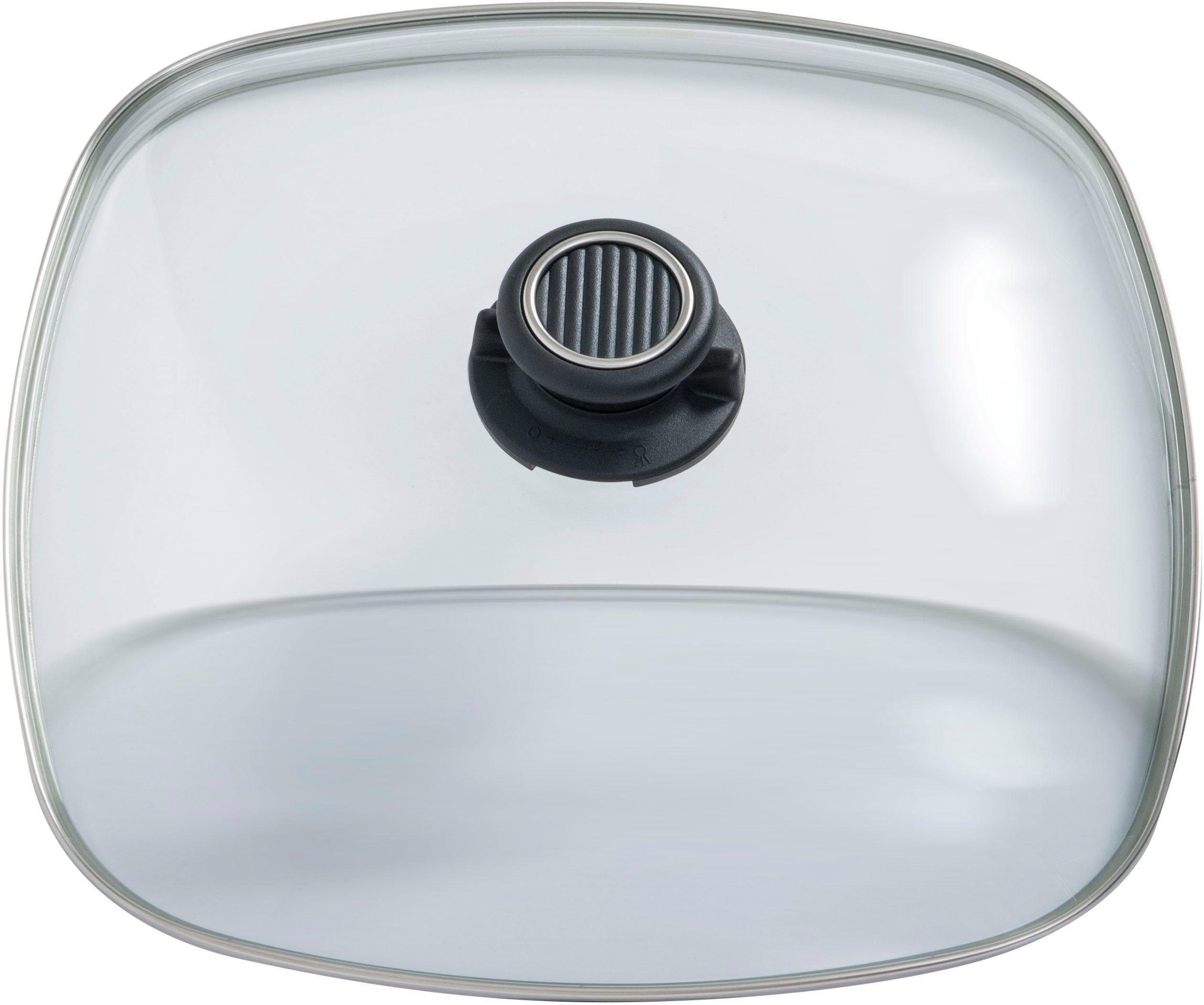Gastrolux Deckel Deluxe, eckig, 28x28 cm farblos Zubehör für Töpfe Haushaltswaren