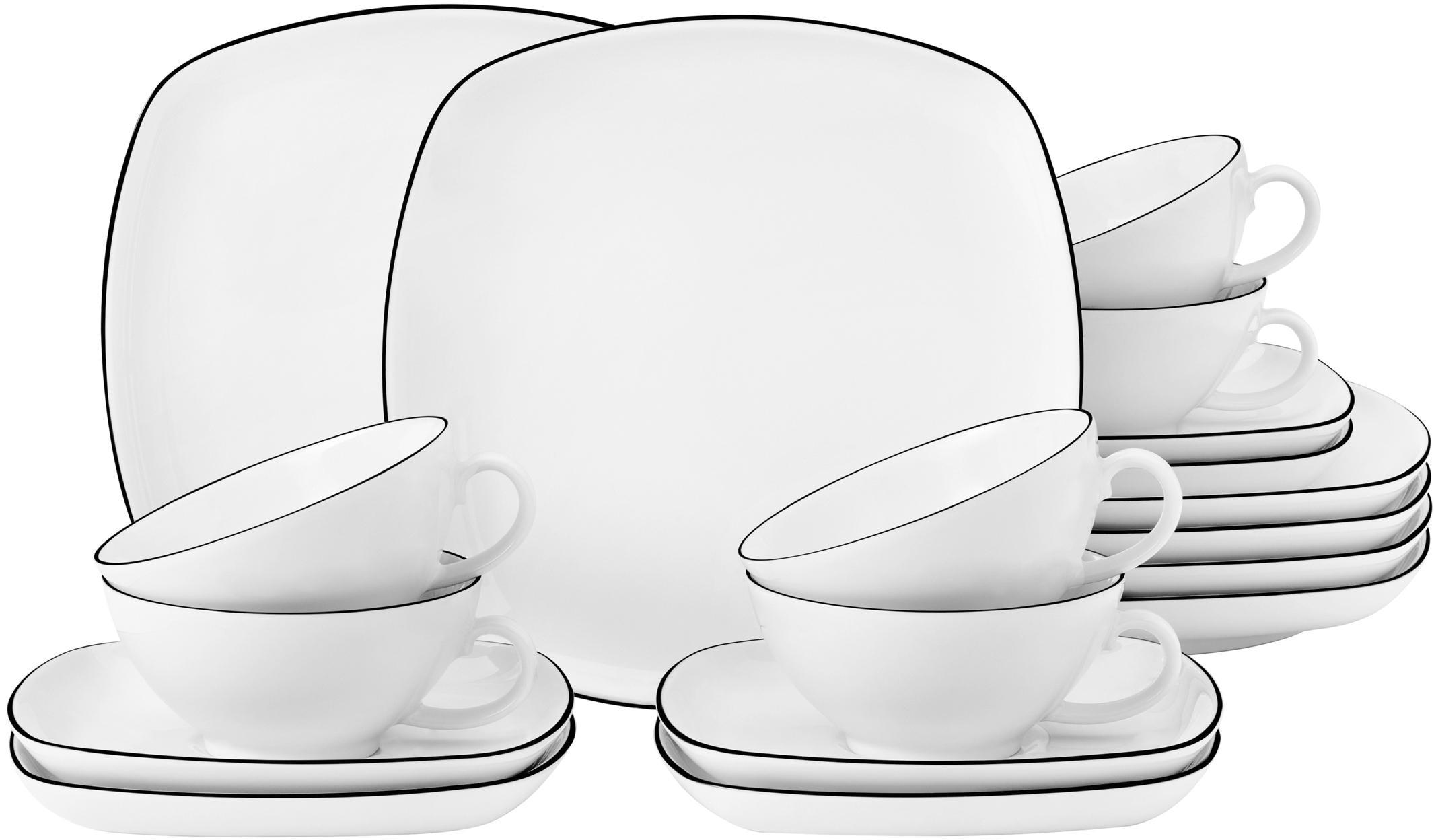 Seltmann Weiden Teeservice Lido, (Set, 18 tlg.), 140 ml weiß Geschirr-Sets Geschirr, Porzellan Tischaccessoires Haushaltswaren