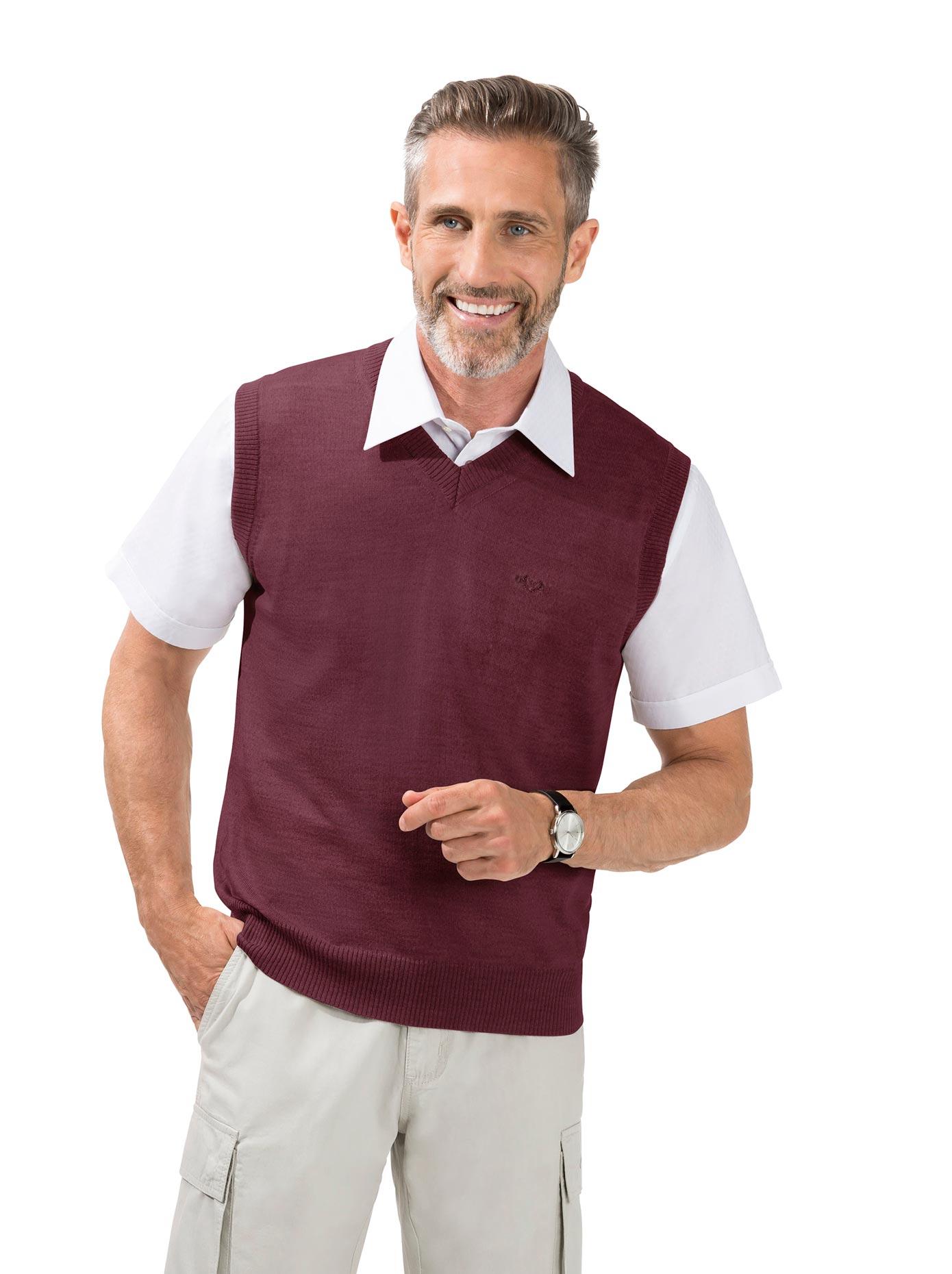 Classic Pullunder aus extra feiner reiner Merinowolle | Bekleidung > Pullover > Pullunder | Rot | Schurwolle | Classic