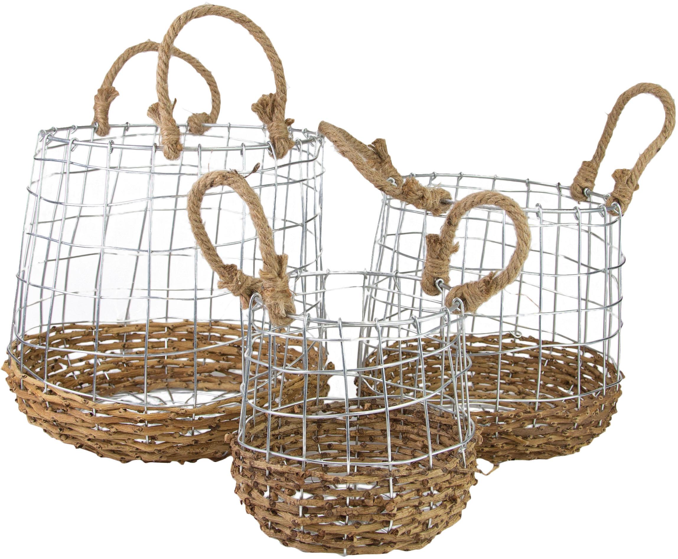 Aufbewahrungskorb, (Set, 3 St.), aus Metall und Rattangeflecht beige Körbe Aufbewahrung Ordnung Wohnaccessoires Aufbewahrungskorb