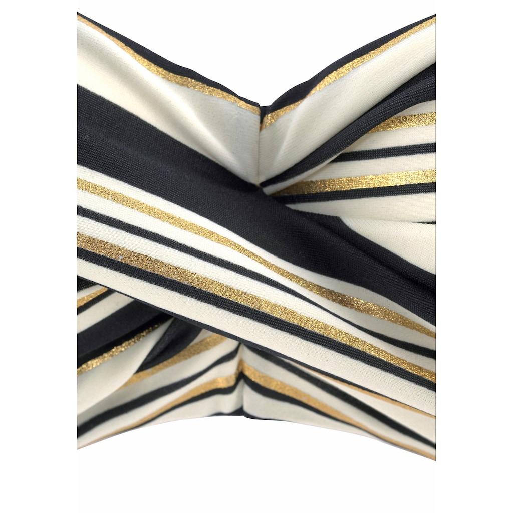 LASCANA Bandeau-Bikini-Top »Caja«, mit Streifen und golfarbenem Glanzdruck