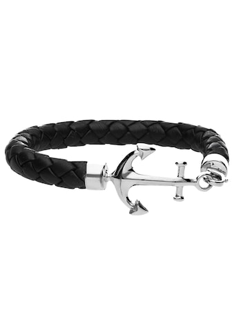 Smart Jewel Armband »Leder, schwarz mit Anker« kaufen