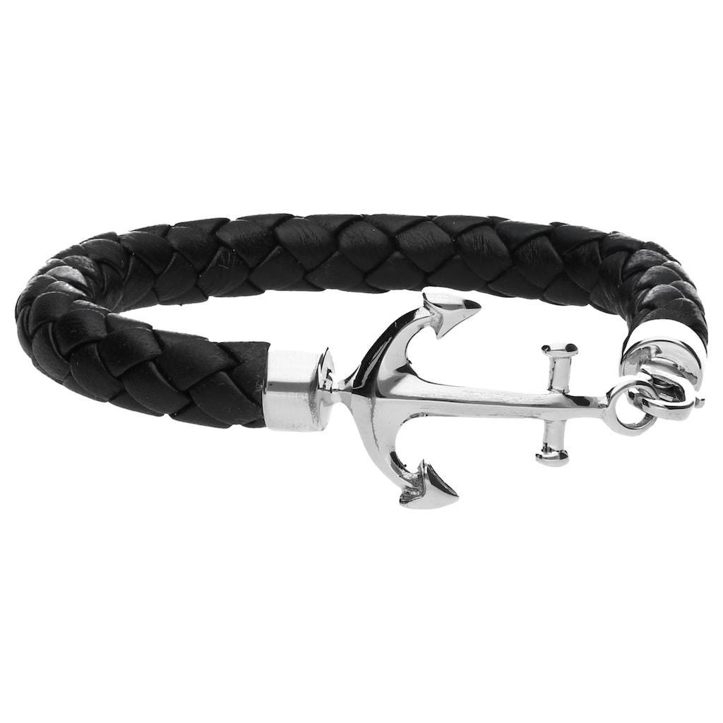 Smart Jewel Armband »Leder, schwarz mit Anker«