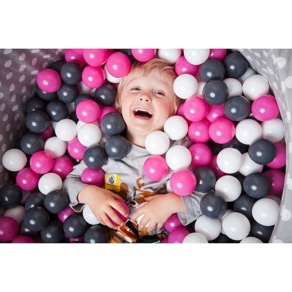 Knorrtoys® Bällebad »Soft, Grey white dots«, mit 300 Bällen creme/grey/rose; Made in Europe
