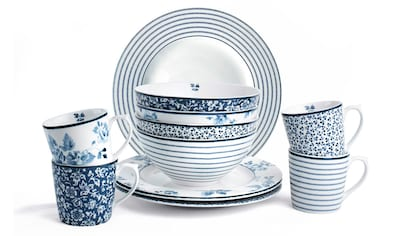 LAURA ASHLEY BLUEPRINT COLLECTABLES Frühstücks-Set »Mix Designs China Rose, Sweet Allysum, Floris und Candy Stripe.«, (Set, 12 tlg., 4 Becher, 4 Schale 16 cm, 4 Teller 23 cm) kaufen