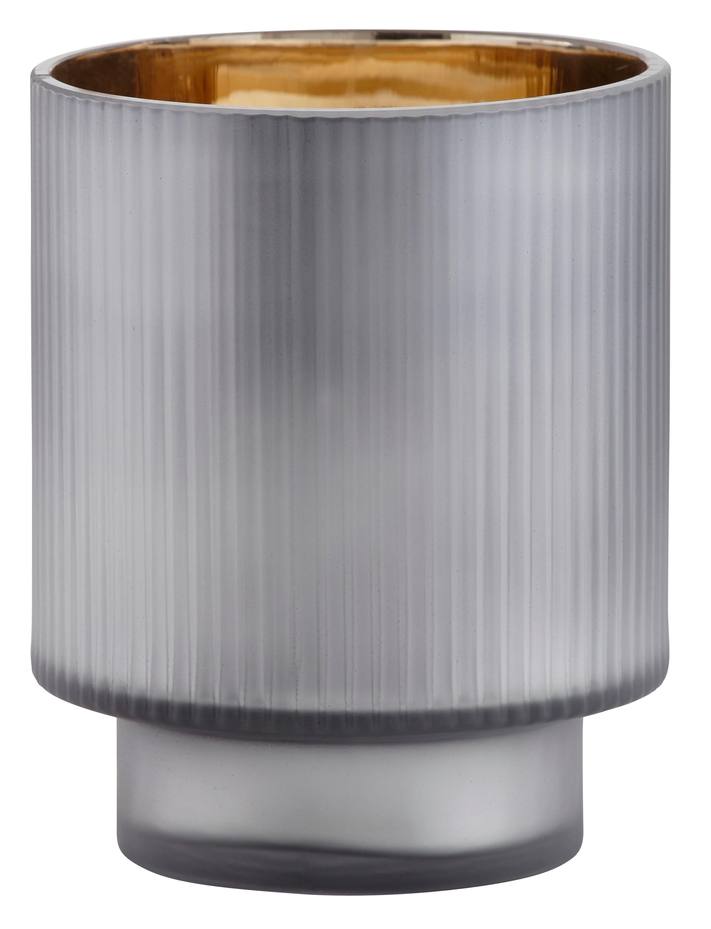 Leonique Windlicht Aubree, aus Glas, mit Innen-Verspiegelung grau Kerzenhalter Kerzen Laternen Wohnaccessoires