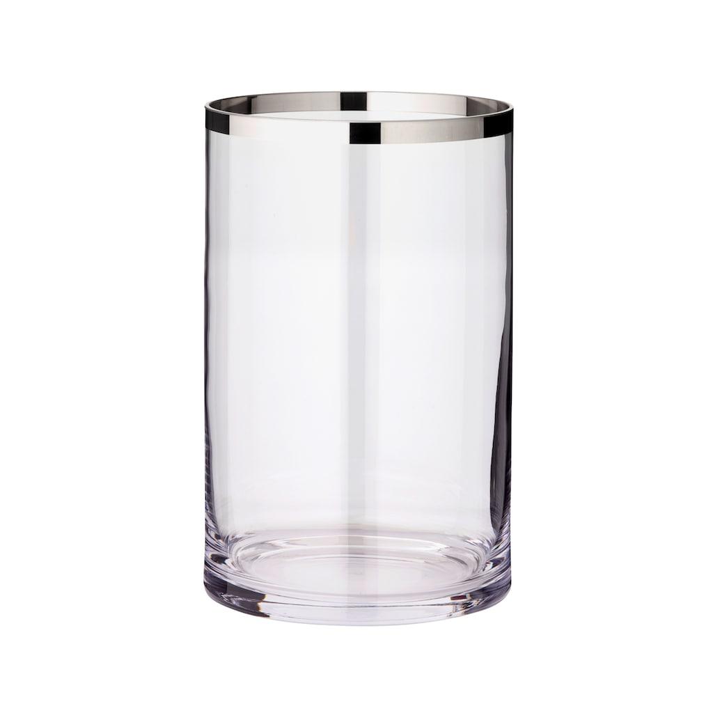 EDZARD Windlicht »Molly«, Laterne aus Kristallglas mit Platinrand, Kerzenhalter für Stumpenherzen, Höhe 30 cm, Ø 17 cm
