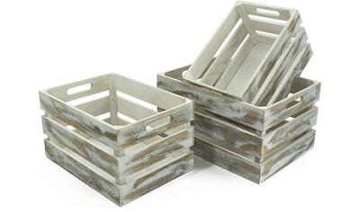 NOOR LIVING Aufbewahrungsbox »Holzkisten-Set, 3-tlg., weiß gewaschen«, (Set, 3 St.) kaufen