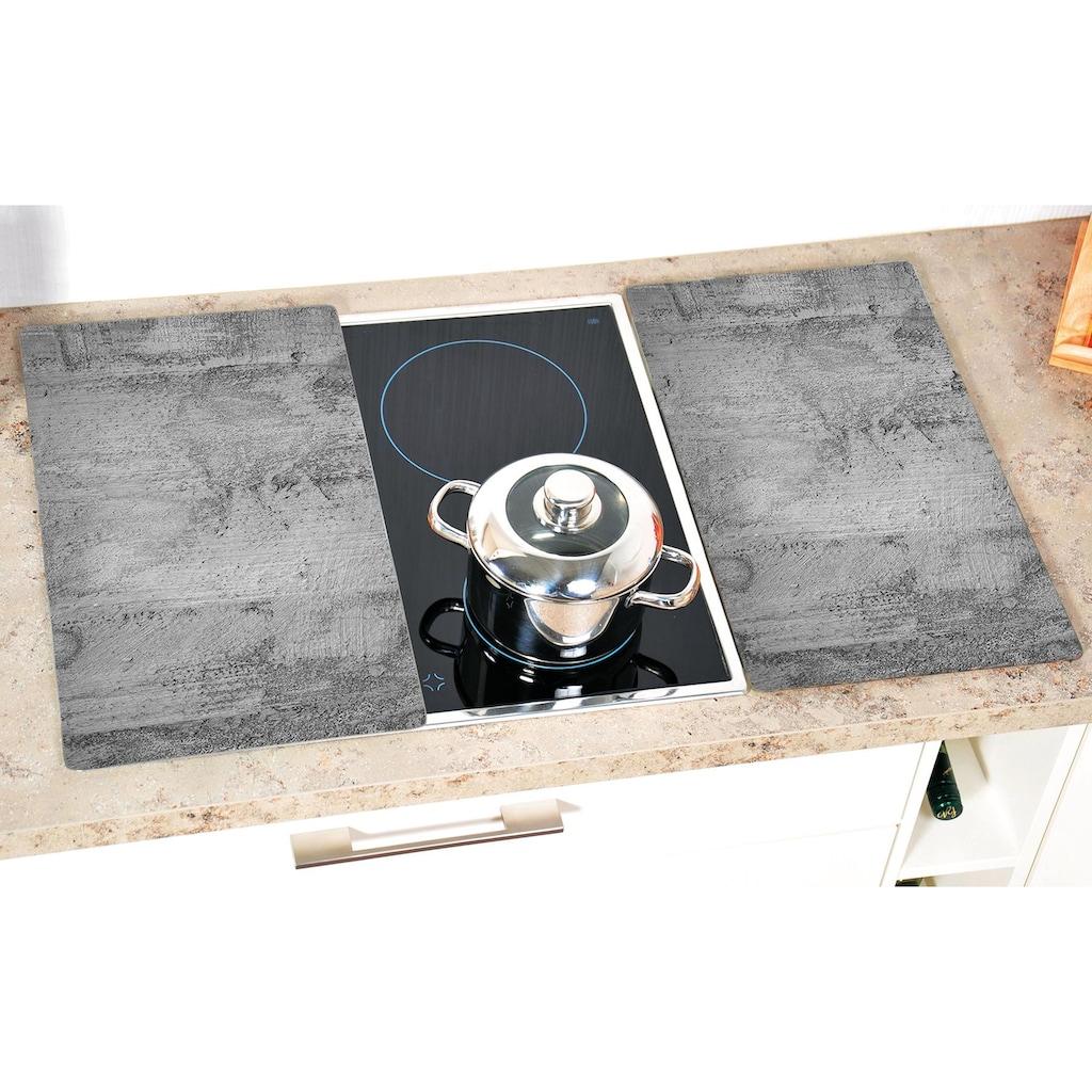 KESPER for kitchen & home Schneide- und Abdeckplatte »Beton«, (Set, 2 tlg.), Mit 6 Elastikfüßen je Platte