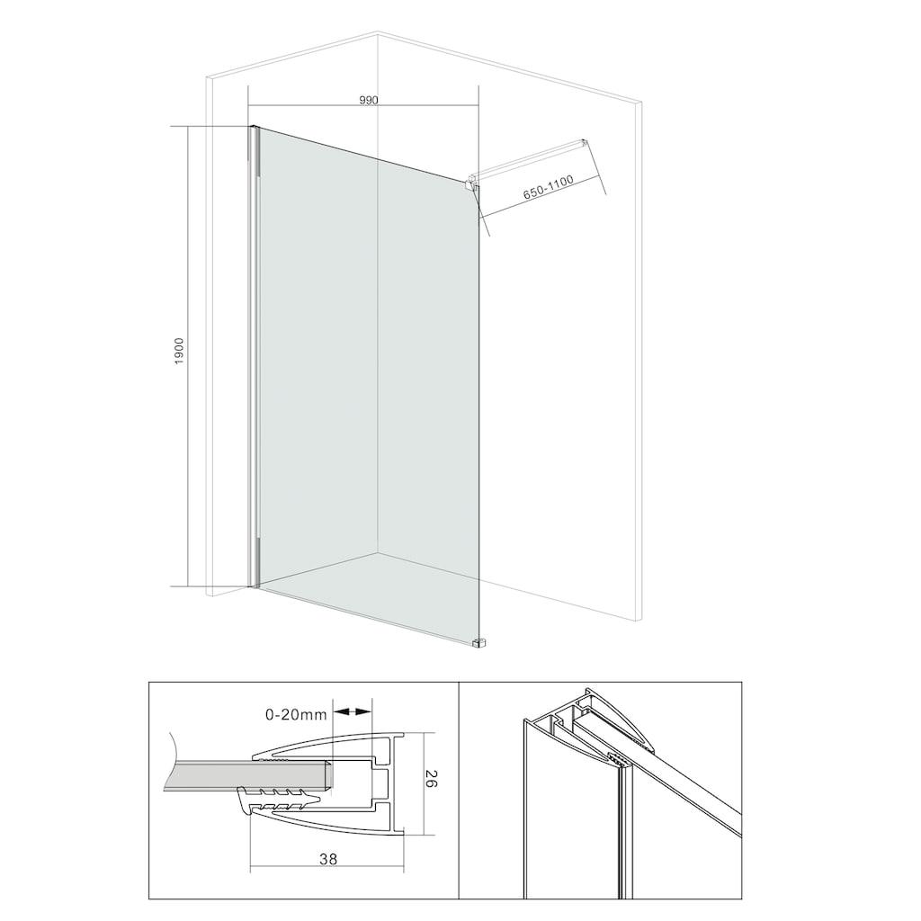 welltime Duschwand »Duschabtrennung«, Breite 100 cm, Grauglas