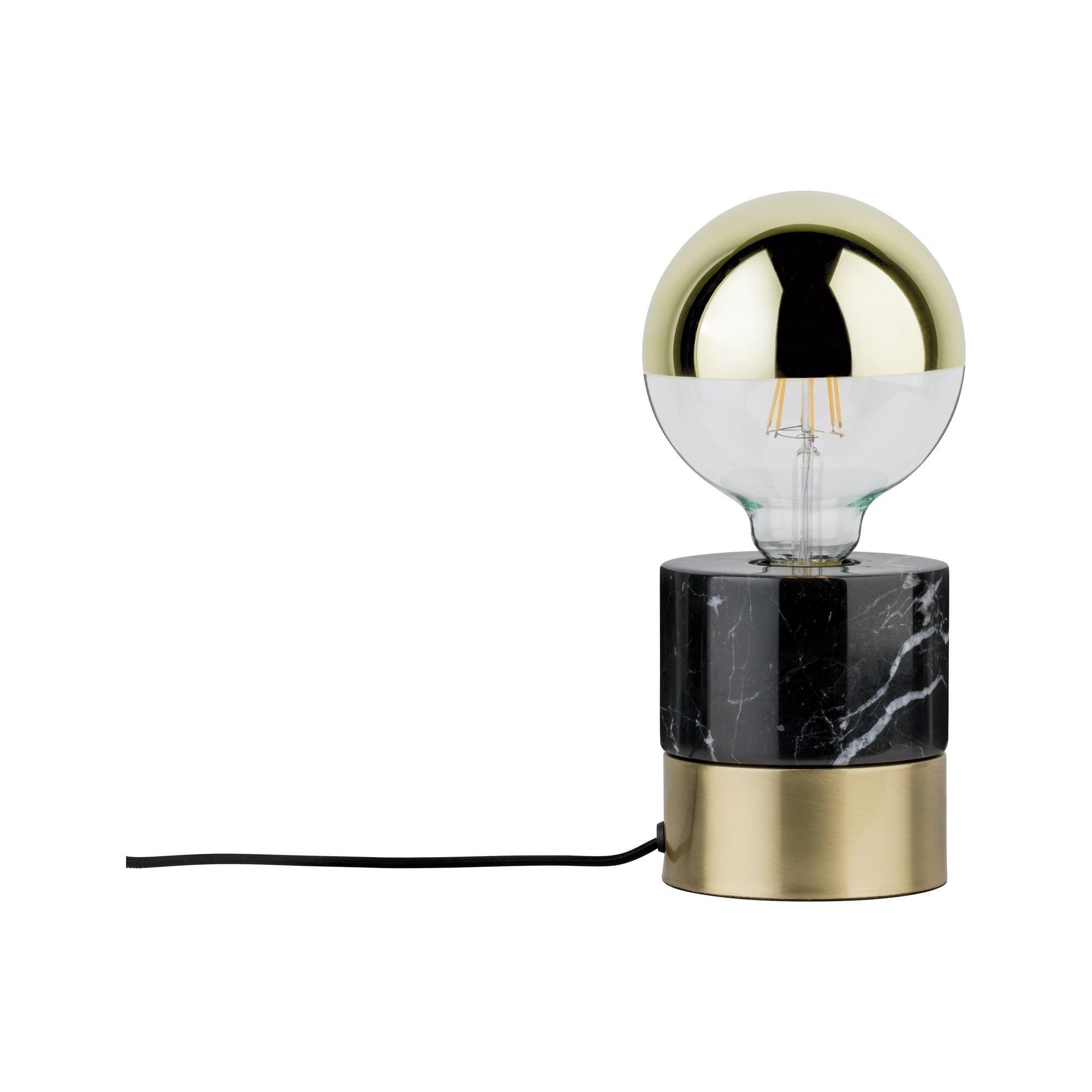 Paulmann LED Tischleuchte Vala Messing gebürstet/Marmor schwarz max. 20W E27, E27, 1 St.