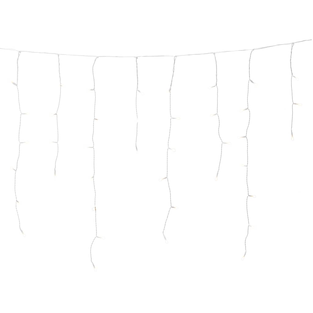 KONSTSMIDE LED-Lichtervorhang, LED Eisregenvorhang für den Außenbereich, 200 warm weiße Dioden, Außentrafo, weißes Kabel