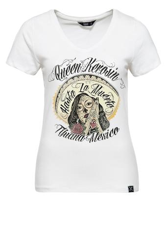 QueenKerosin Print-Shirt »Hasta La Muerte«, mit V-Ausschnitt und Frontprint kaufen