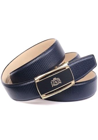 Anthoni Crown Ledergürtel, Wertige goldfarbene Schließe mit filigranem Anthoni Crown Logo kaufen