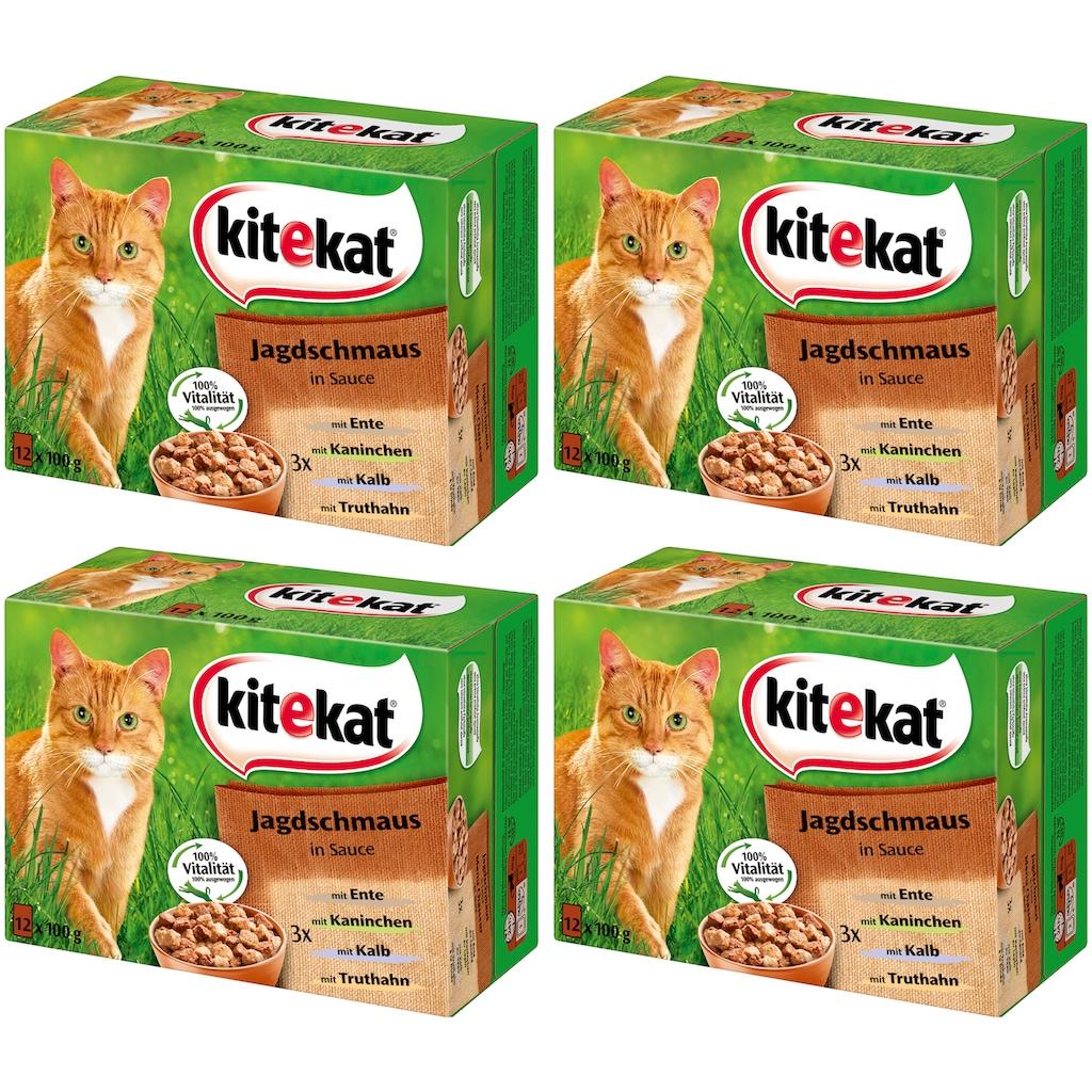 Kitekat Set: Katzennassfutter »Jagdschmaus in Sauce«, 4 Pakete mit je 12 Beuteln á 100 g