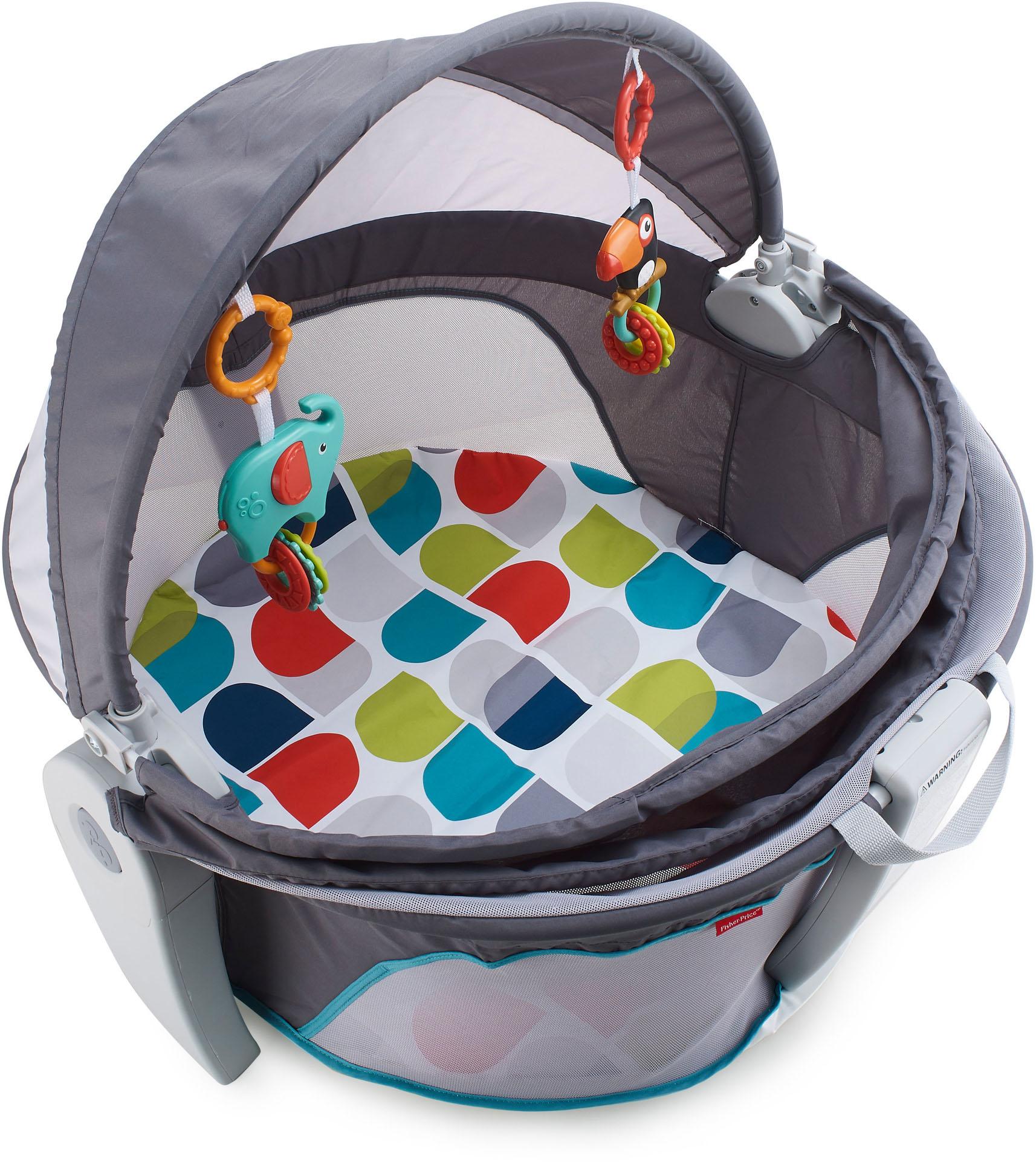 Fisher-Price Babywippe Reise-Babykorb, bis 9 kg grau Baby Babywippen Bauchtragen, Babyschaukeln