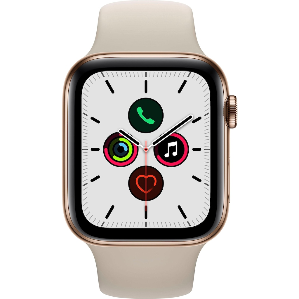 Apple Watch »Series 5 GPS + Cellular, Edelstahlgehäuse mit Sportarmband 44mm« (, Watch OS 6