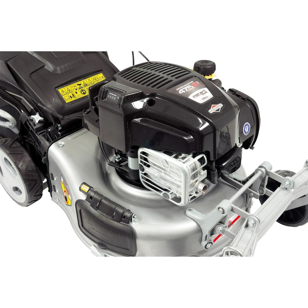 Grizzly Tools Benzinrasenmäher »BRM 46-140 BSA Q-360° InStart«, 46 cm Schnittbreite, inkl. Mulchfunktion mit Laubsammelfunktion
