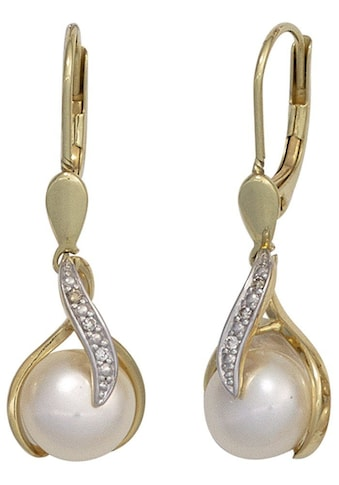 JOBO Perlenohrringe, 585 Gold mit 6 Diamanten und Süßwasser-Zuchtperlen kaufen