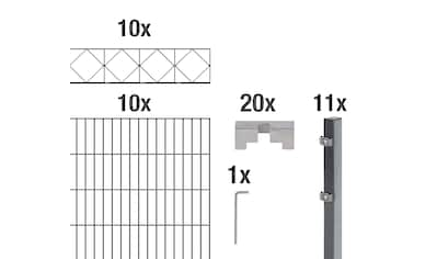 GAH Alberts Doppelstabmattenzaun »Bergen«, anthrazit, 140 cm hoch, 10 Matten für 20 m, 11 Pfosten kaufen