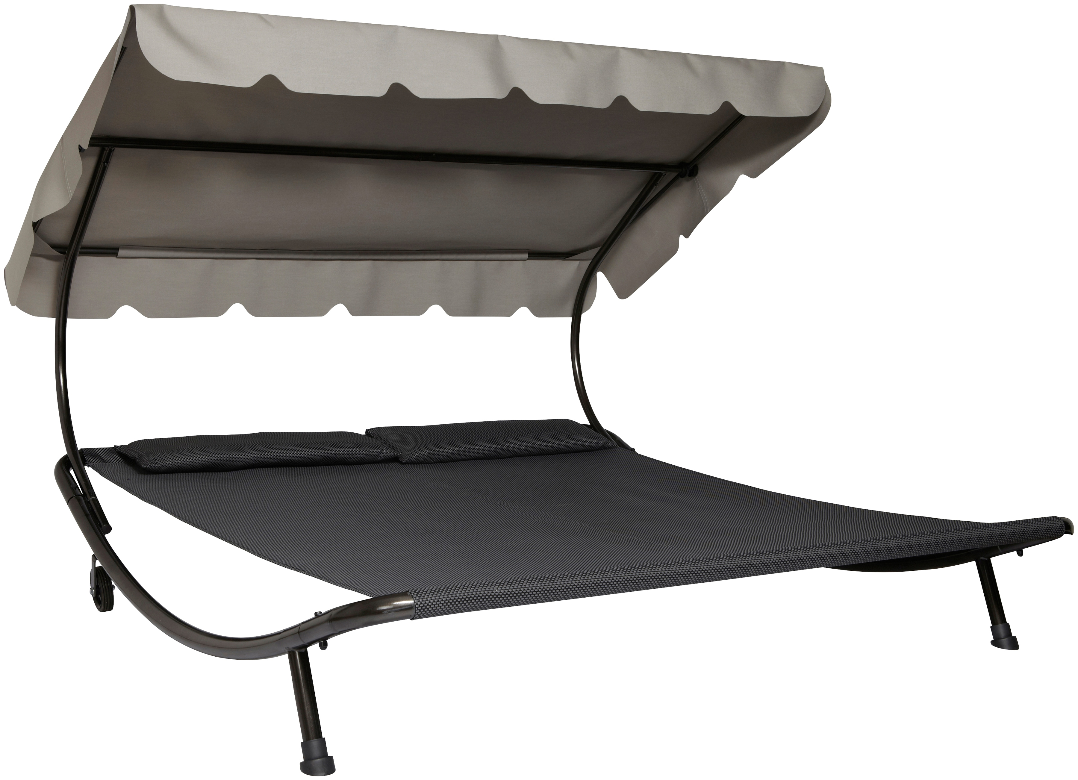Leco Doppelliege, Stahl/Textil, 200x200 cm grau Doppelliege Gartenliegen Gartenmöbel Gartendeko