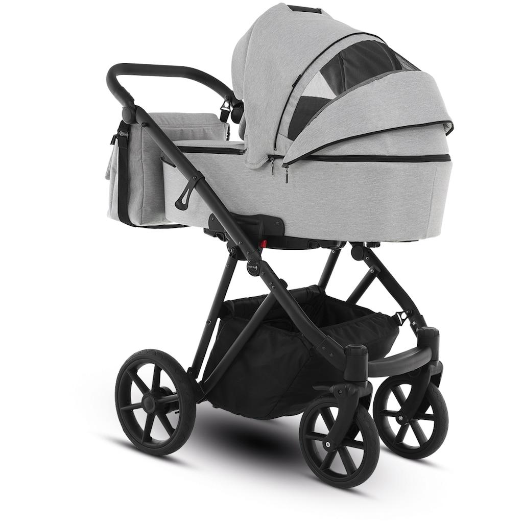 Knorrbaby Kombi-Kinderwagen »Luzon Black Edition, Hellgrau«, 15 kg, Gestell faltbar; Made in Europe; Kinderwagen
