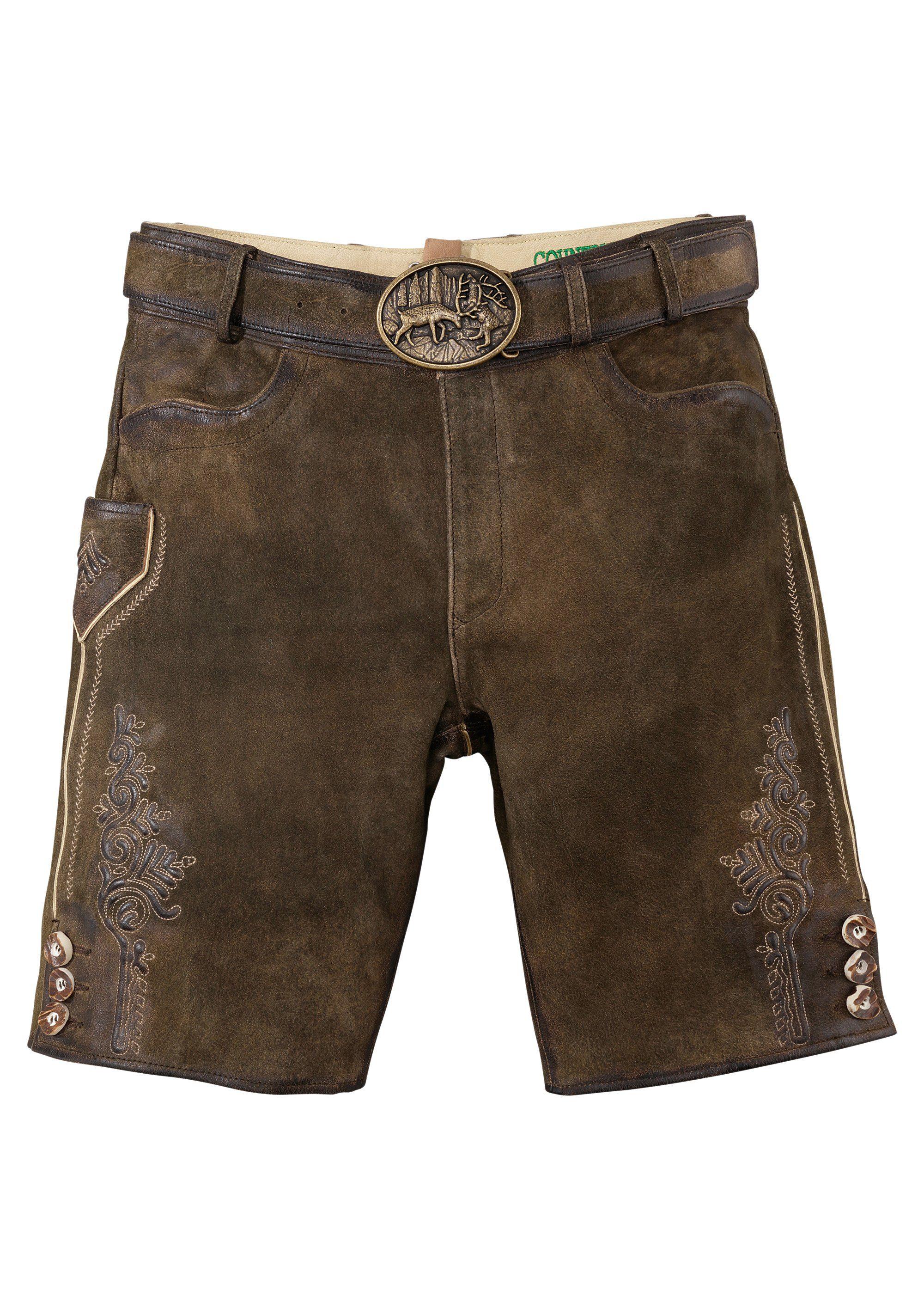 Country Line Trachtenlederhose kurz Herren mit Reißverschluss und Knopf vorne | Bekleidung > Hosen > Lederhosen | Braun | COUNTRY LINE