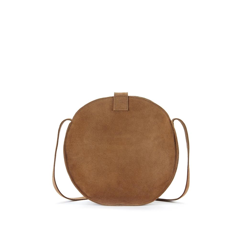 LASCANA Umhängetasche, Runde Tasche aus Veloursleder im lässig Look
