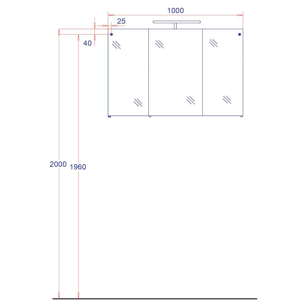 HELD MÖBEL Spiegelschrank »Florida«, Breite 100 cm, mit LED-Beleuchtung