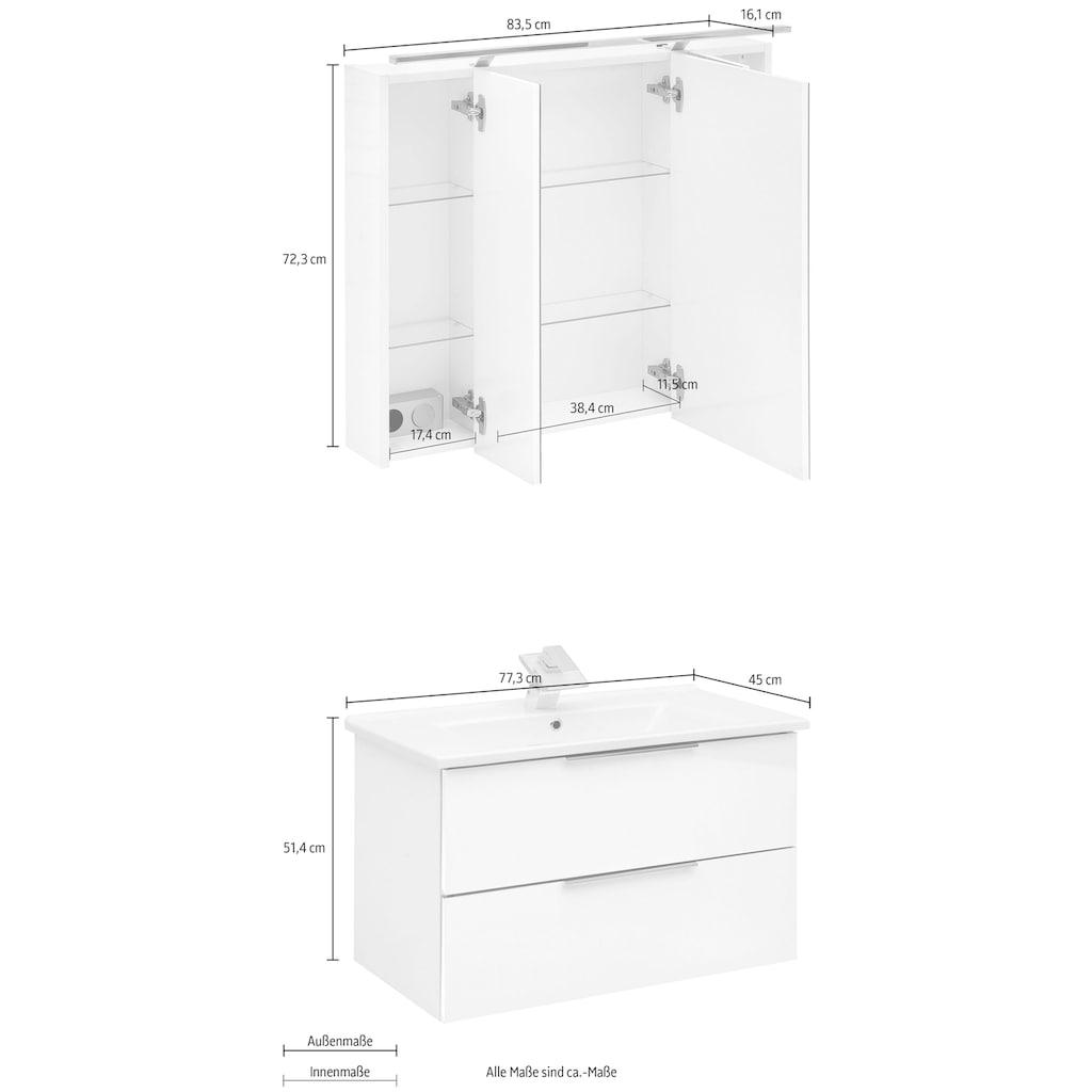 Schildmeyer Badmöbel-Set »Ankona«, (2 St.), Spiegelschrank & Waschtisch, montiert