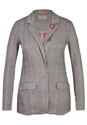 VIA APPIA Modischer Blazer mit Glencheck - Muster und Herz - Brosche Plus Size kaufen