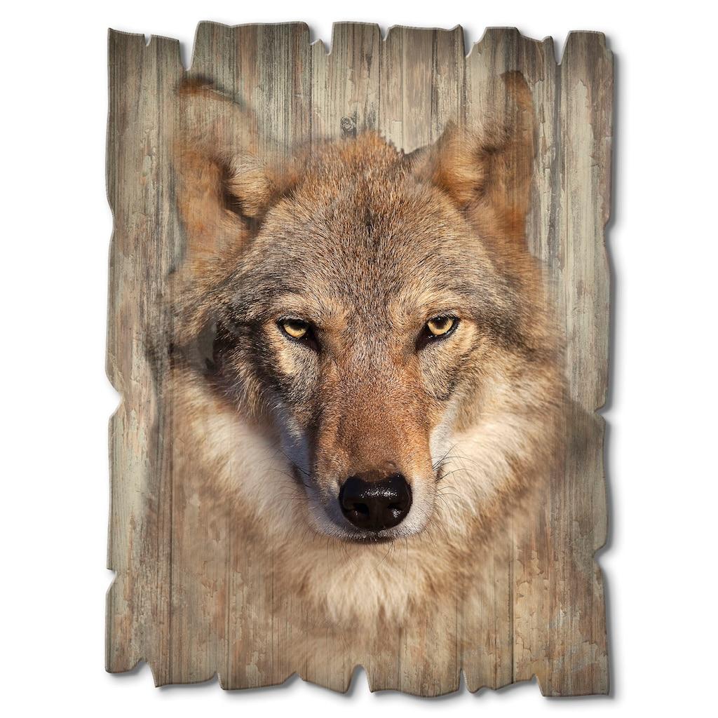 Artland Holzbild »Wolf«, Wildtiere, (1 St.)